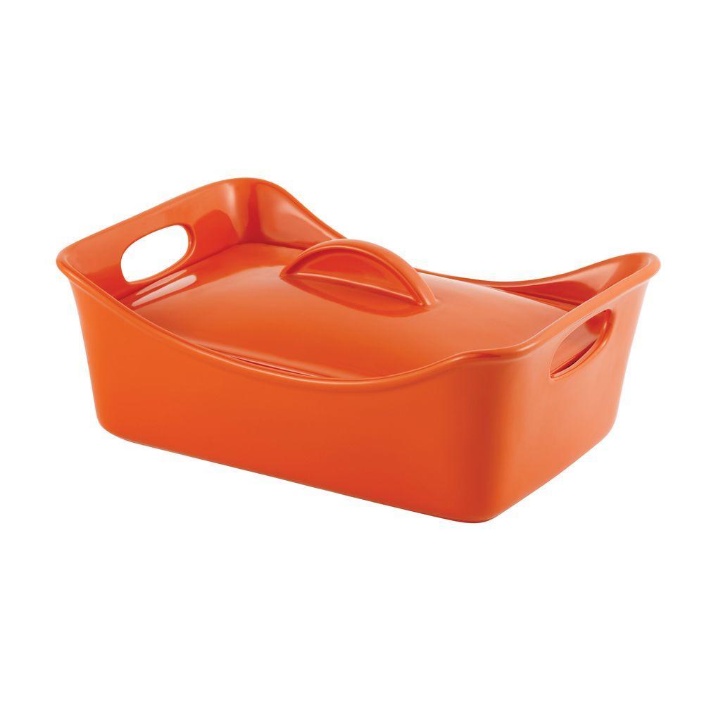 Rachael Ray Stoneware 3.5 qt. Covered Rectangle Casserole in Orange