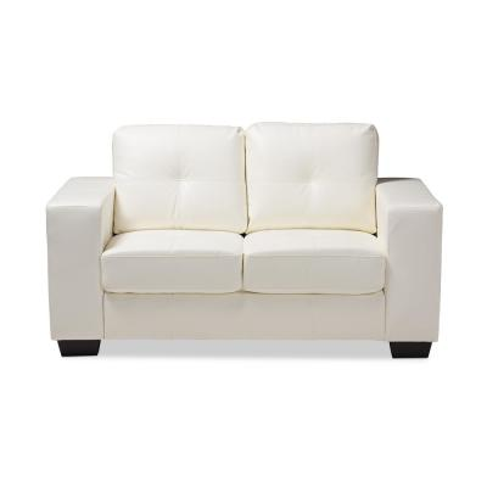 Faux Leather White Sofas