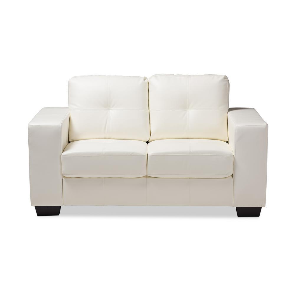 Remarkable Adalynn White Faux Leather Loveseat Creativecarmelina Interior Chair Design Creativecarmelinacom