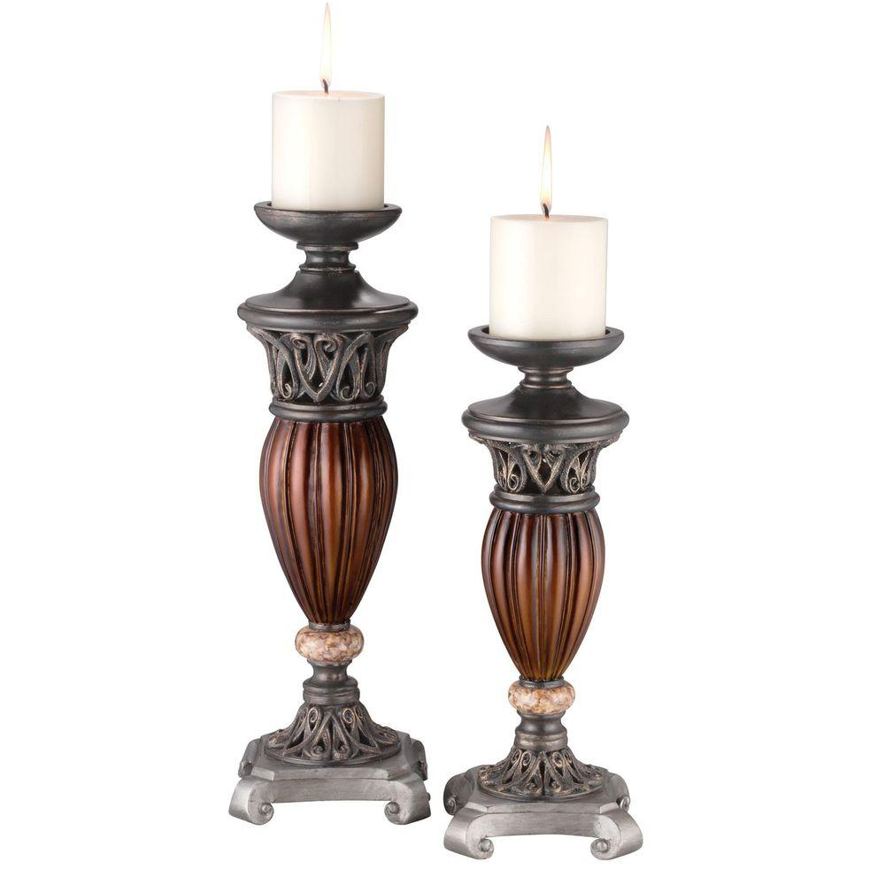 ORE International Roman Bronze Collection 16 in. and 13 in. H 2 in 1 Candleholder Set