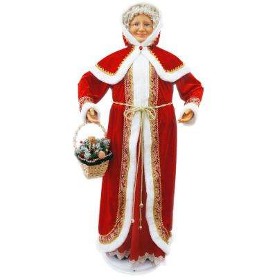 58 in. Christmas Dancing Mrs. Claus with Hooded Cloak and Basket
