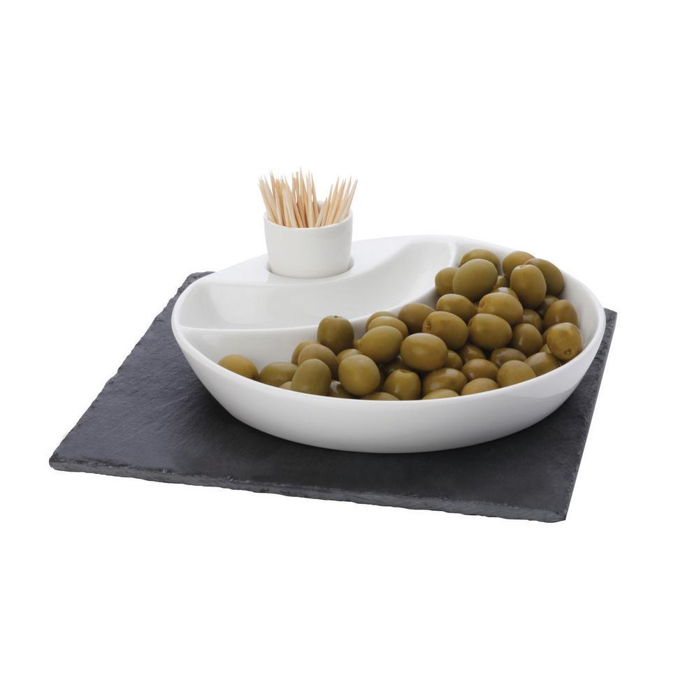 3-Piece Square White Basics Slate Olive Dish