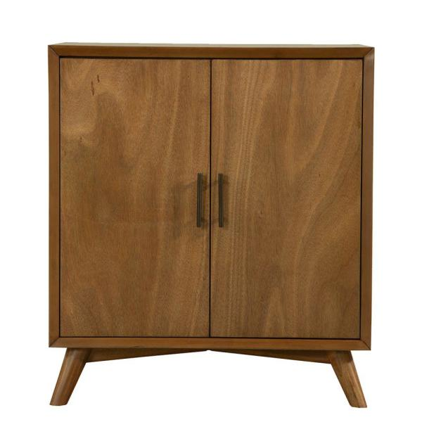 Wooden Brown Small Bar Cabinet with 2-Doors and Splayed Legs
