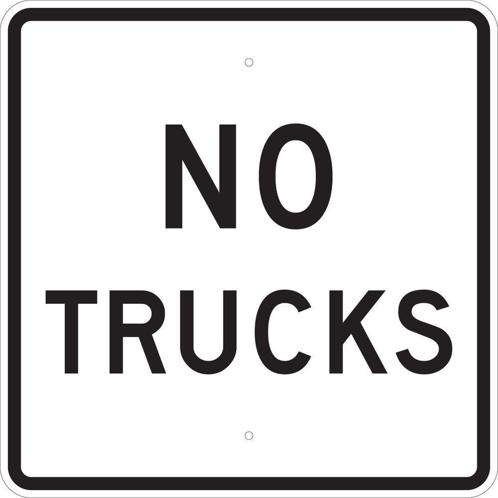 24 in. x 24 in. B-959 Reflective Aluminum No Trucks Traffic Sign