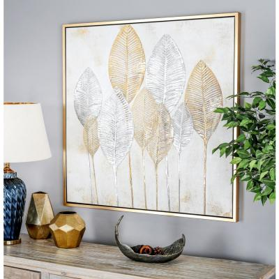 """Gold and Silver Veined Leaves"" Hand Painted Framed Canvas Wall Art"