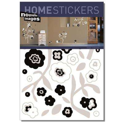 Multicolor Black and White Flowers Home Sticker