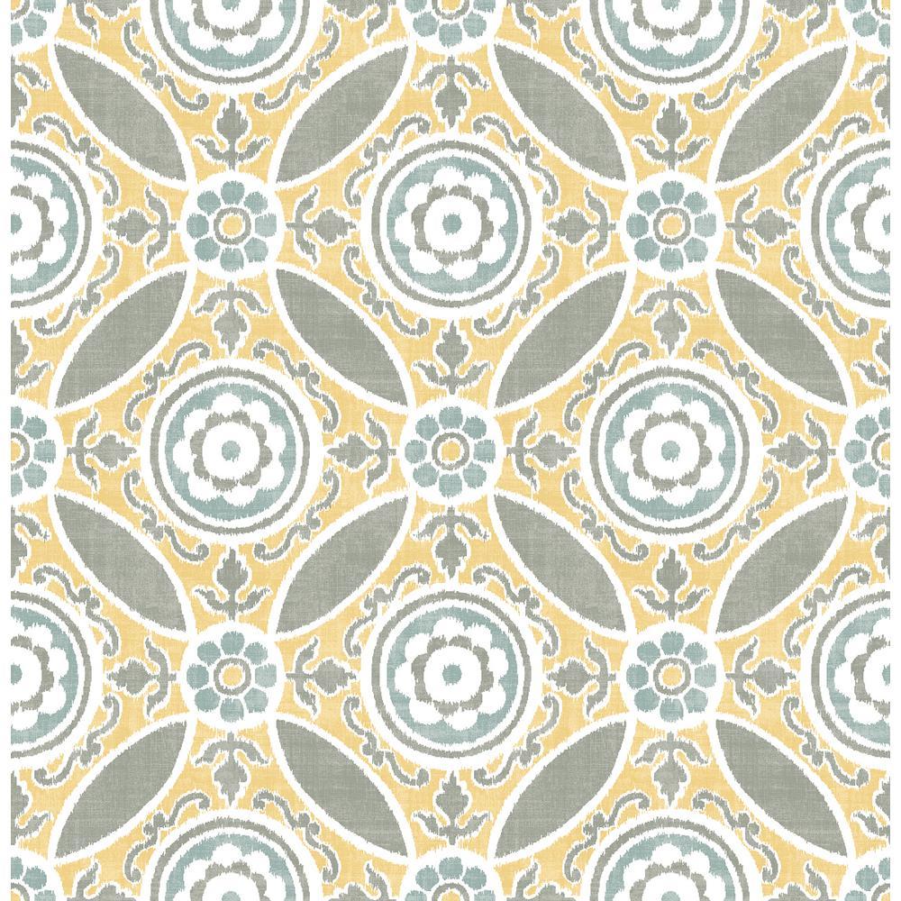 A-Street 56.4 sq. ft. Maya Yellow Medallion Wallpaper 2744-24114