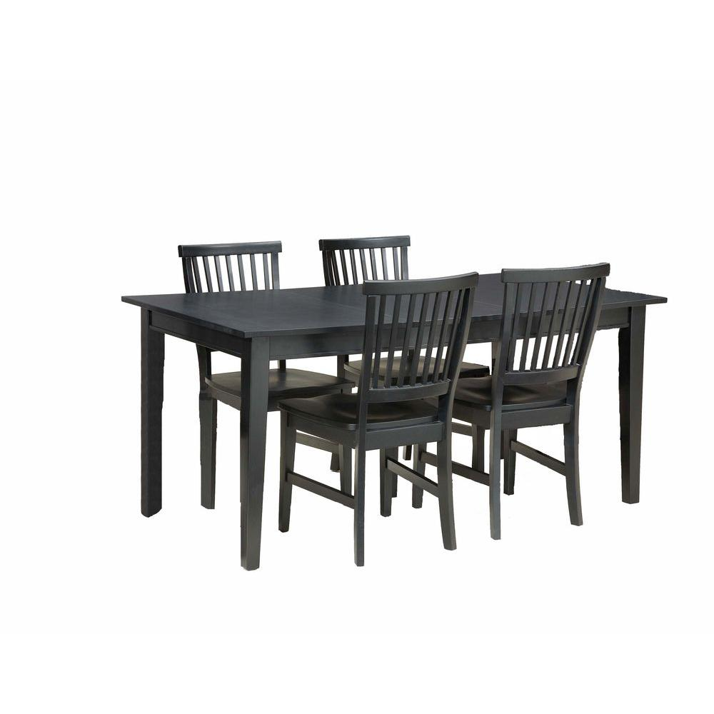 Home Styles Arts And Crafts Black 5 Piece Black Dining Set