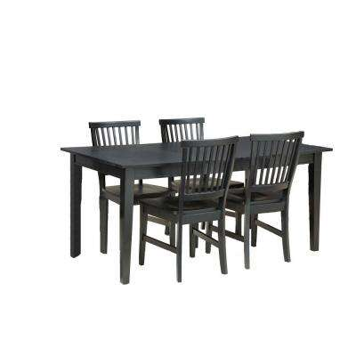 Arts and Crafts Black 5-Piece Black Dining Set