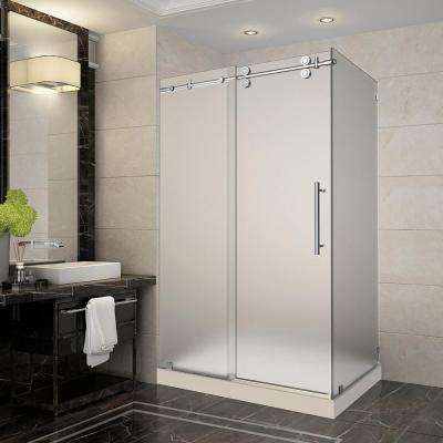 Langham 48 in. x 35 in. x 77.5 in. Frameless Sliding Shower Enclosure and Frosted in Chrome with Right Base