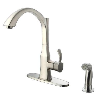 Single-Handle Decorative Kitchen Faucet with Side Sprayer in Stainless Steel