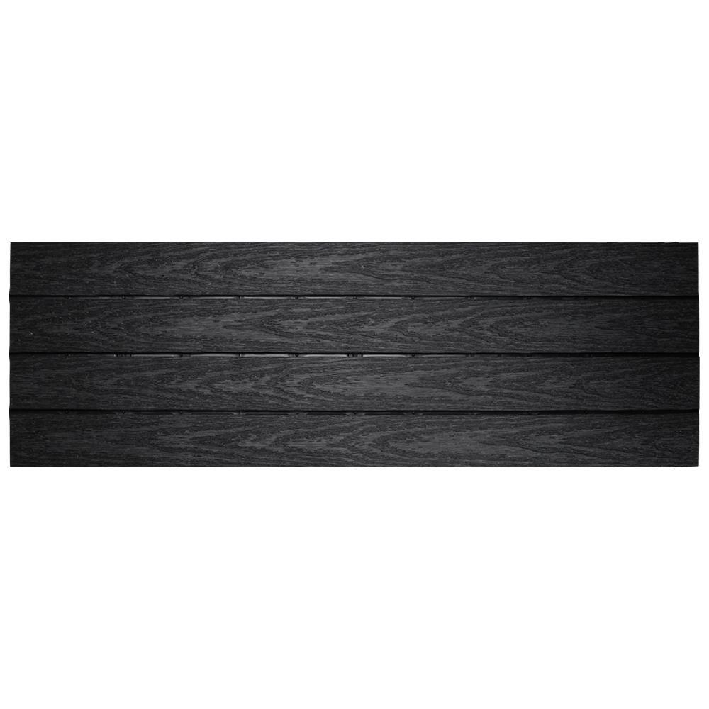 UltraShield Naturale 1 ft. x 3 ft. Quick Deck Outdoor Composite Deck Tile in Hawaiian Charcoal (15 sq. ft. Per Box)