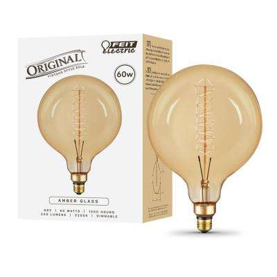 60-Watt Equivalent (2200K) G63 Dimmable Filament Incandescent Vintage Style Large Amber Glass Light Bulb