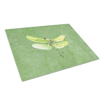 Dragonfly on Avocado Tempered Glass Large Cutting Board