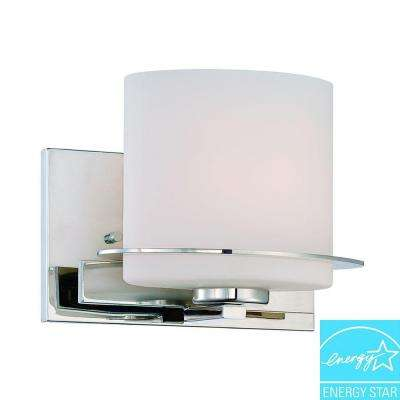 1-Light Polished Nickel Vanity Fixture with Oval Frosted Glass Shade
