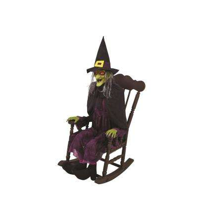 animated witch in rocking chair with led eyes