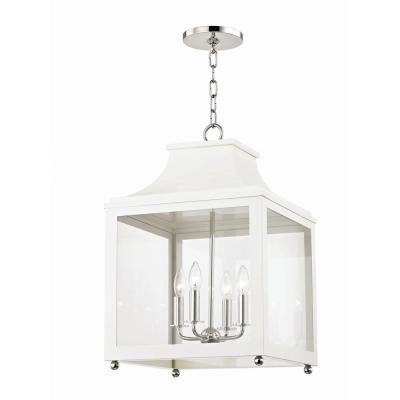 Leigh 4-Light 16 in. W Polished Nickel/White Pendant with Clear Glass Panel