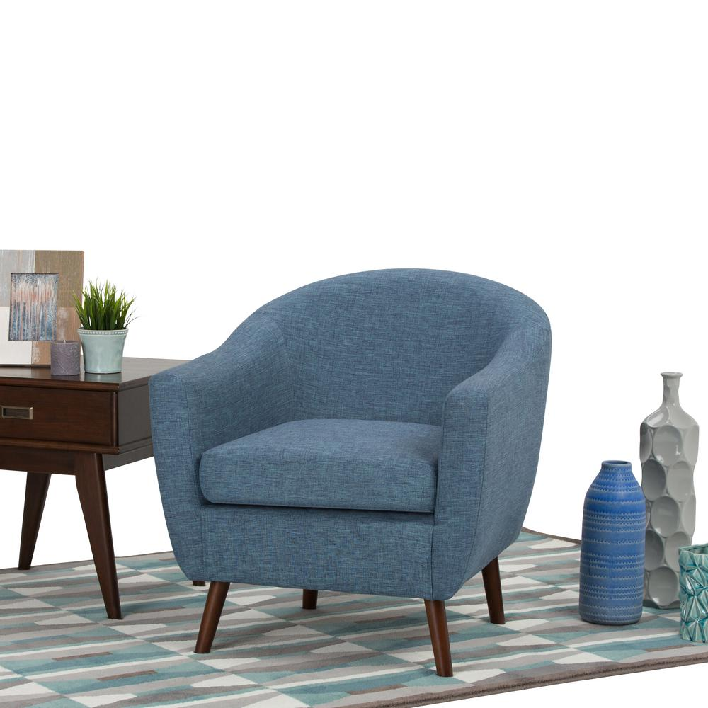 Etonnant Simpli Home Roundstone Denim Blue Fabric Arm Chair