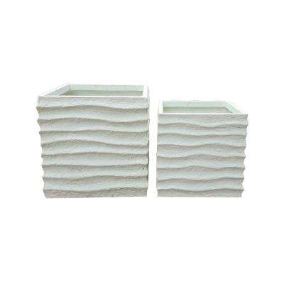 Lightweight Concrete Square Wave Textured Off White Planter (Set of 2)