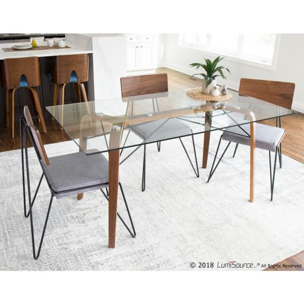 Lumisource Trilogy Mid Century Modern Walnut Rectangular Dining Table With Wood And Clear Glass Top Dt Trl6235 Wlcl The Home Depot