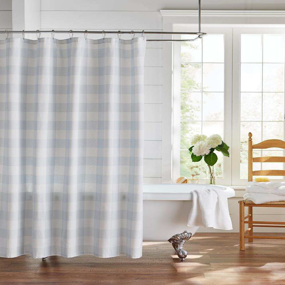 Farmhouse Living Buffalo Check 72 in. x 72 in. Blue/White Shower Curtain