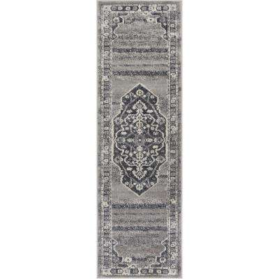 Pearl Republic 2 ft. 3 in. x 7 ft. 3 in. Traditional Persian Medallion Vintage Distressed Soft Dark Grey Runner Rug