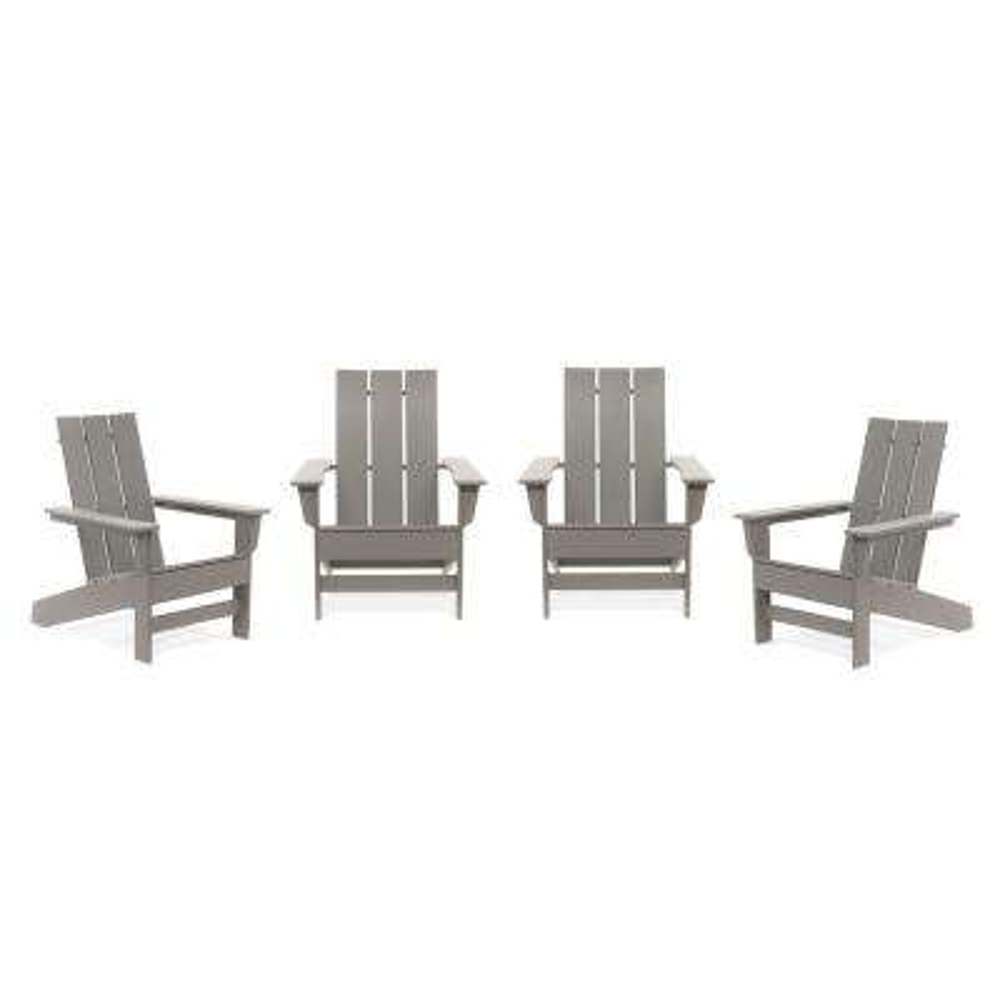 Aria Light Gray Recycled Plastic Modern Adirondack Chair (4-Pack)