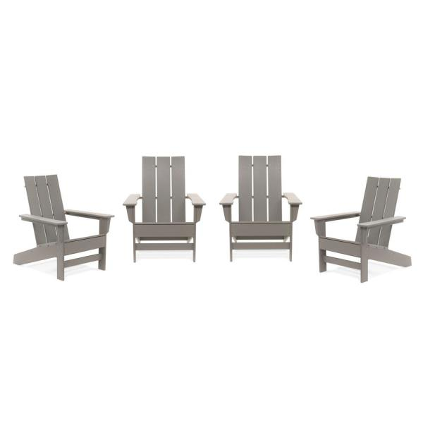 Aria Light Gray Recycled Plastic Modern Adirondack Chair (4-Pack)
