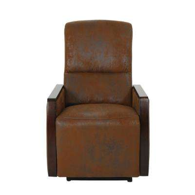 Pedrin Traditional Tufted Back Brown Microfiber Power Recliner