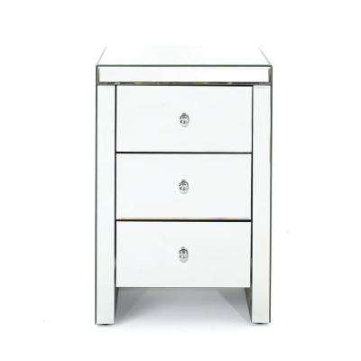 Fianna Classic Mirrored 3-Drawer Side Table