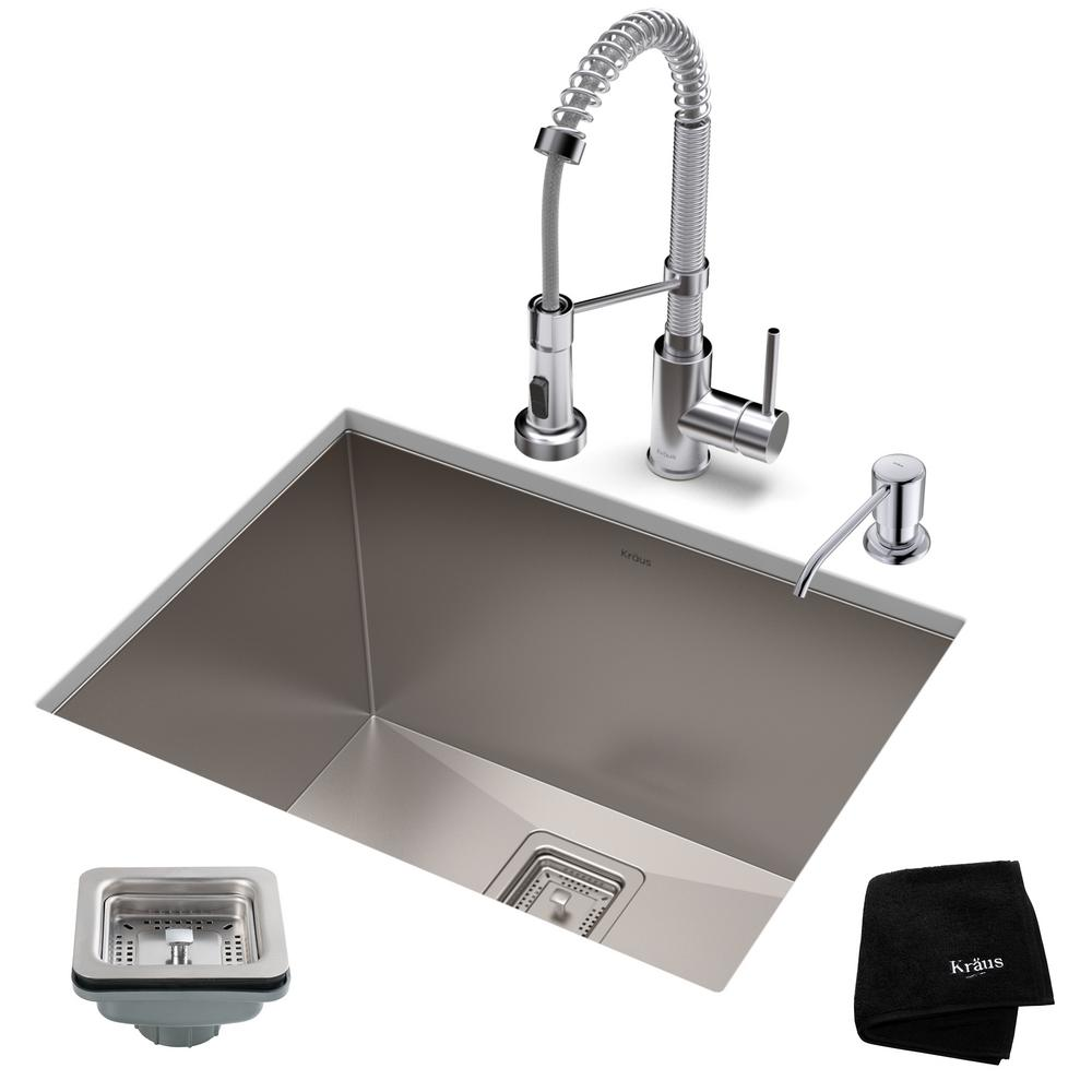 Kraus Pax All In One Undermount Stainless Steel 24 In Single Bowl Kitchen Sink With Faucet In Stainless Steel Matte Black Khu24l 1610 53ssmb The Home Depot
