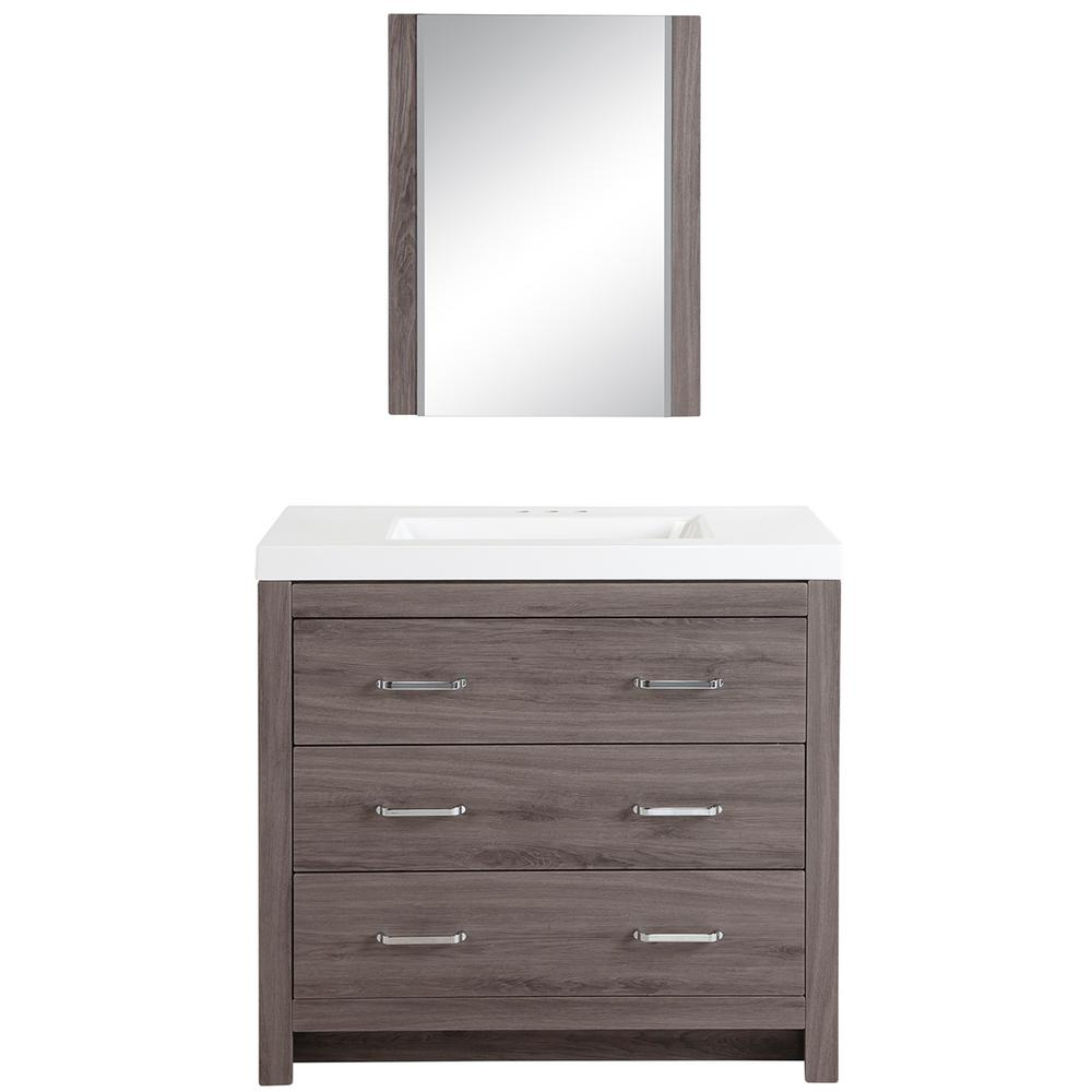 Glacier Bay Woodbrook 36 in. Bath Vanity in Dark Oak with Cultured Marble Vanity Top in White with White Basin and Mirror