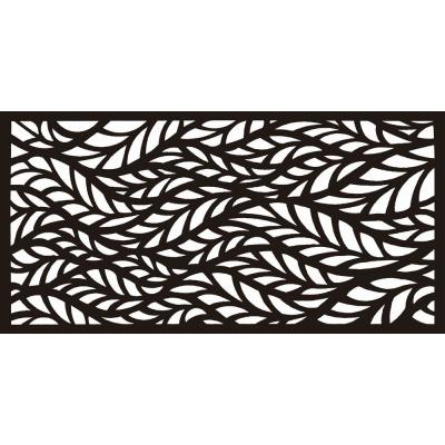 New Style MetalArt Laser Cut Metal Black BlowingLeaves Privacy Fence Screen (24 in. x 48 in. per Piece 1-Piece)