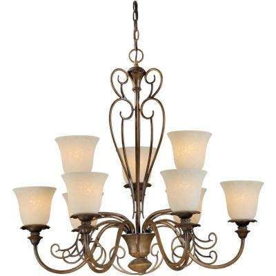 9-Light Rustic Sienna Bronze Chandelier with Tapioca Glass Shade