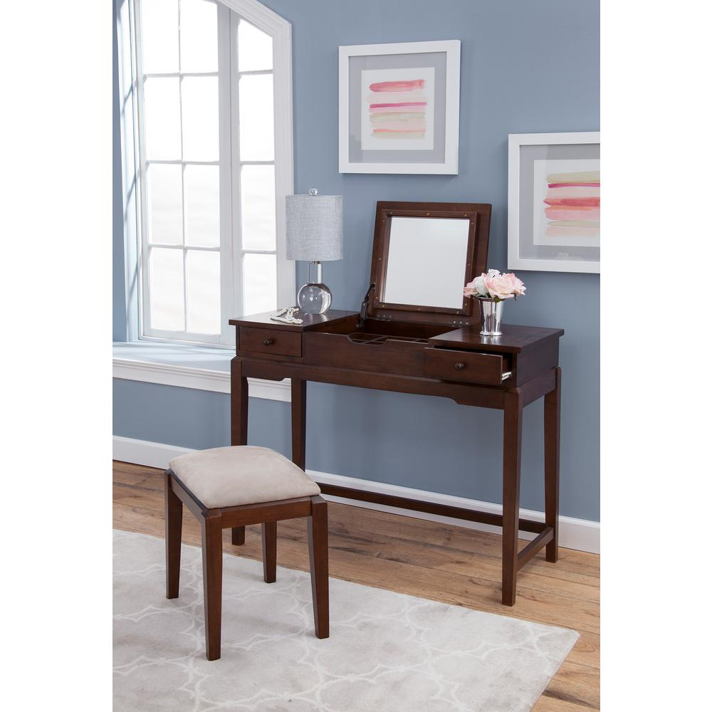 2-PIece Espresso Lift Top Vanity Set