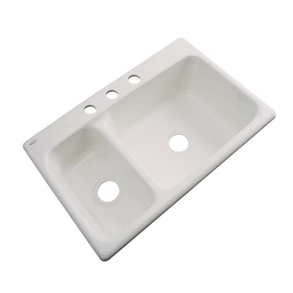 Thermocast Wyndham Drop-In Acrylic 33 in. 3-Hole Double Basin Kitchen Sink in Natural