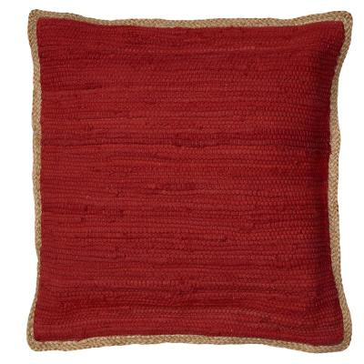 Riley Red Solid Hypoallergenic Polyester 20 in. x 20 in. Throw Pillow