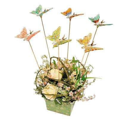 Glass Butterfly Gold Plated Pot Sticks (Set of 6)