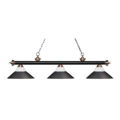 Nice Porter 3 Light Matte Black And Antique Copper Billiard Light With White  Mottle, Olde