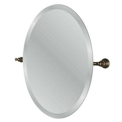 Estates 24 in. x 3 in. Oval Mirror in Heritage Bronze