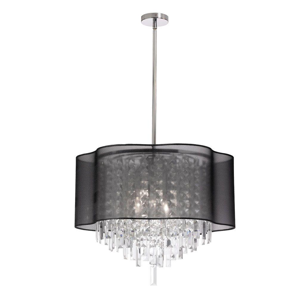 Filament Design Leon 6-Light Polished Chrome Chandelier with Black Organza Shades