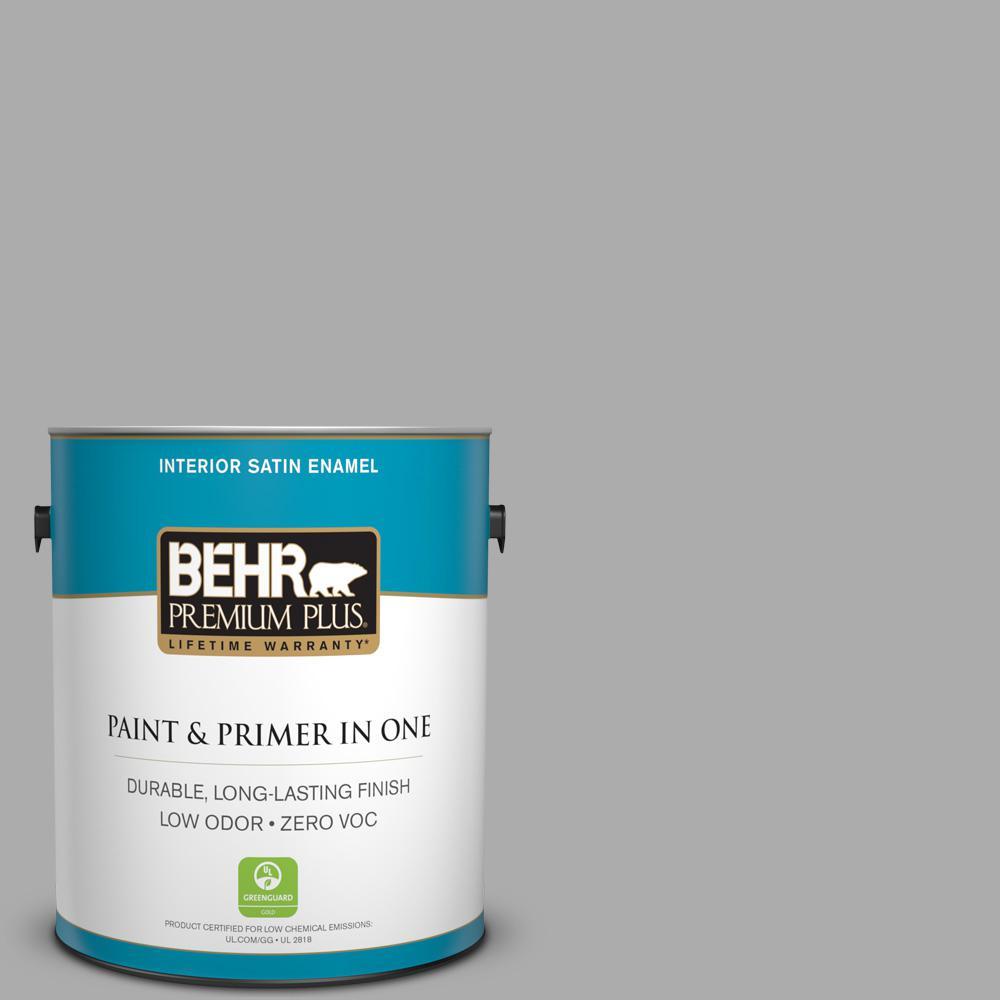 BEHR Premium Plus 1-gal. #N520-3 Flannel Gray Satin Enamel Interior Paint