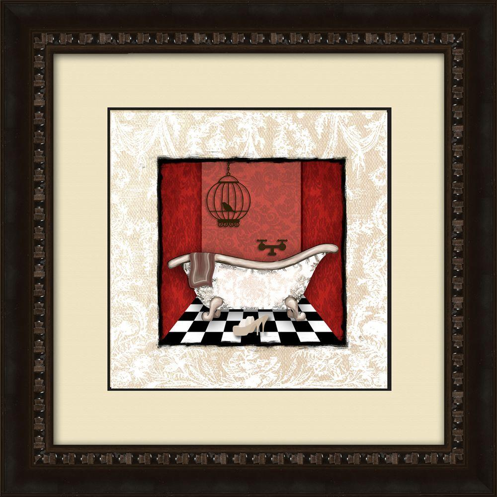 Ptm Images 17 1 2 In X 17 1 2 In Damask Bath B Framed Wall Art 1 17007b The Home Depot