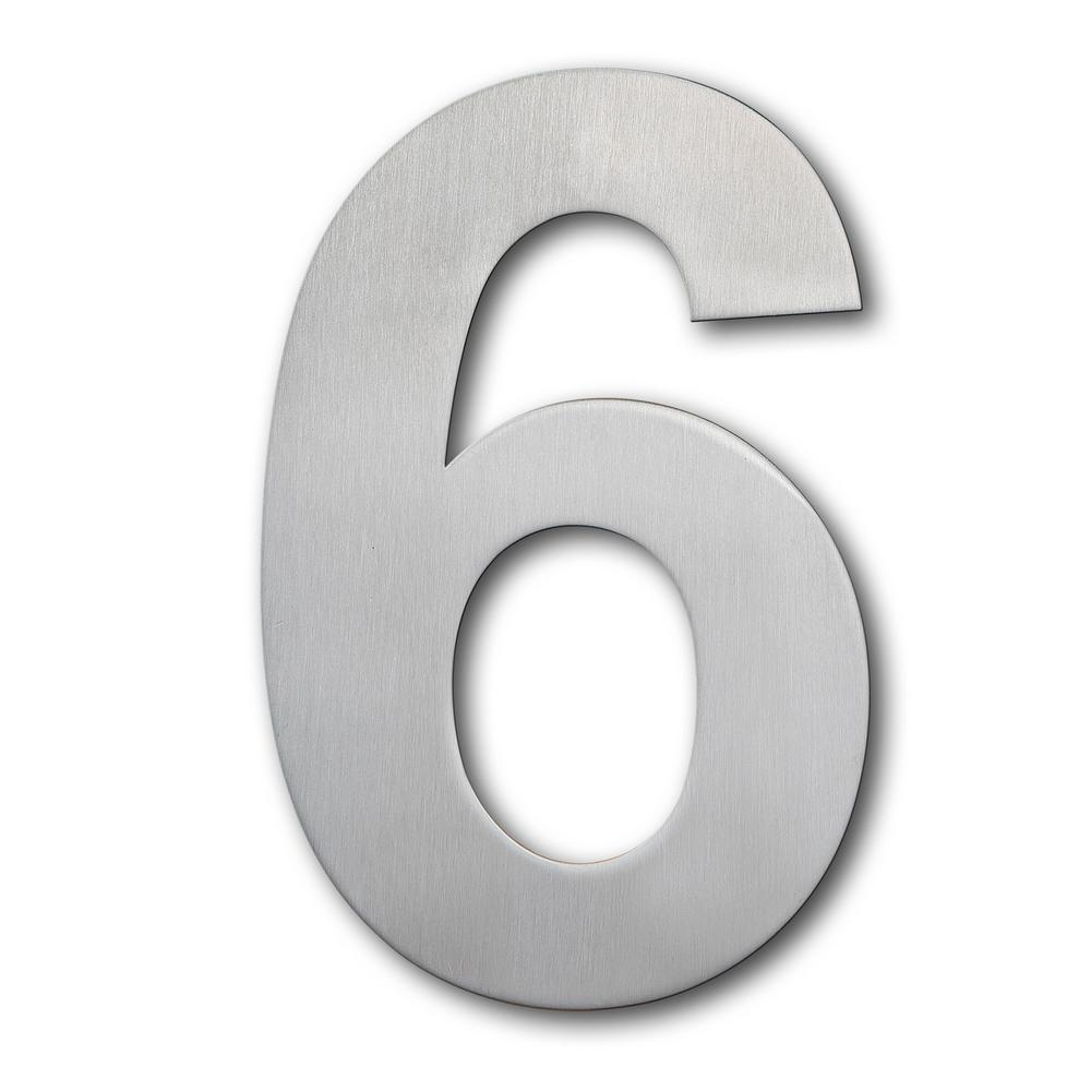 Brushed stainless steel floating modern house number 6 9