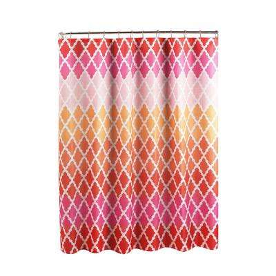 Diamond Weave Textured 70 in. W x 72 in. L Shower Curtain with Metal Roller Rings in Gateway LatticePink