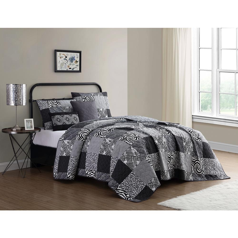 Ziva 5-Piece Black/White Queen Animal Printed Patchwork Quilt Set
