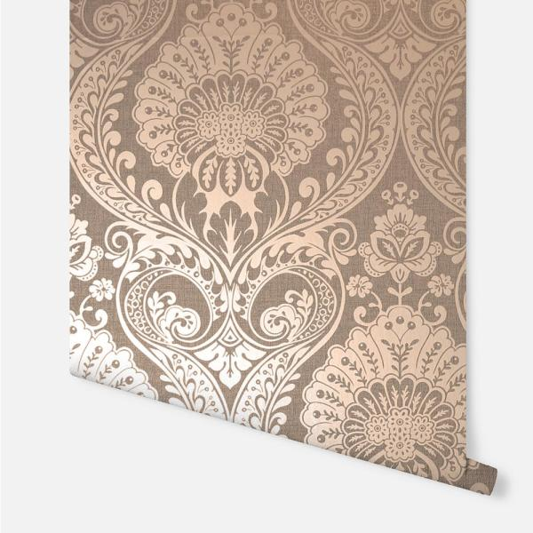 Arthouse Luxe Damask Chocolate Rose Gold Wallpaper 906605 The