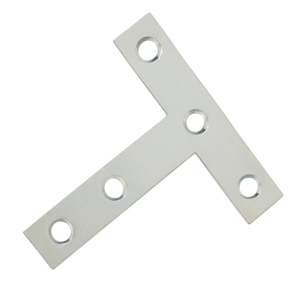 4 in. x 4 in. Zinc Plated Tee Plates (2-Pack)