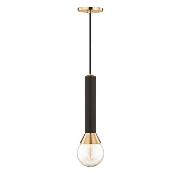 Via 1-Light Polished Brass Pendant with Black Accents
