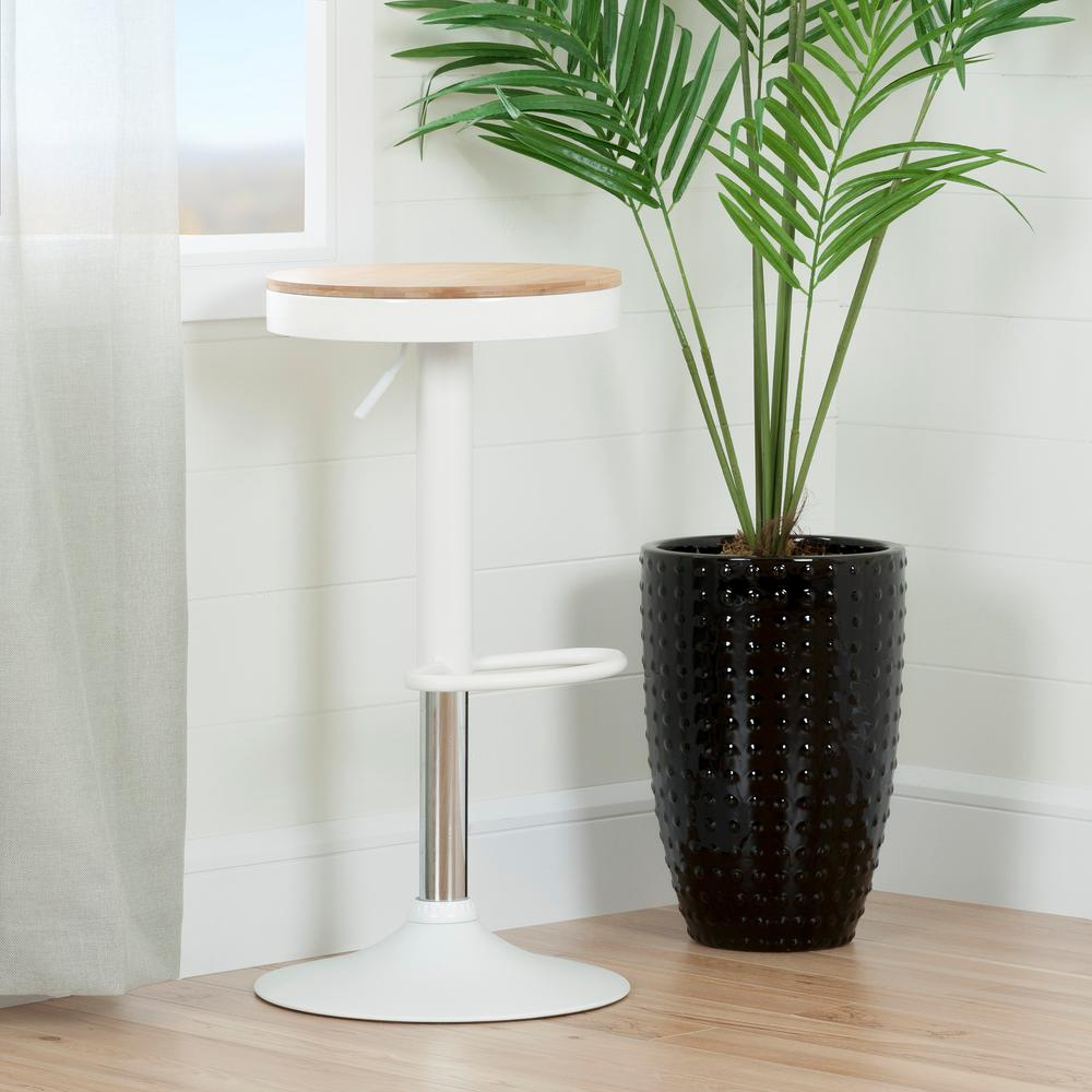 South Shore Crea 31 1 2 In White Adjustable Metal Stool